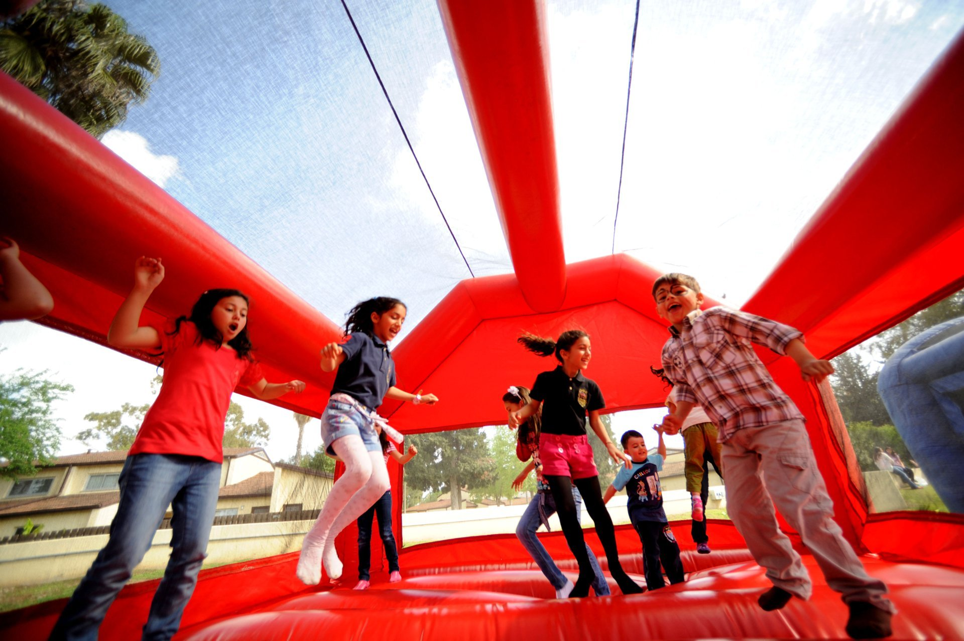Red bounce house