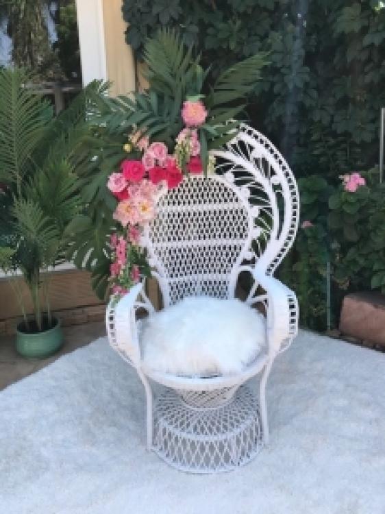 White Peacock Rattan Boho Chair